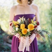 Purple and Gold Bridesmaid | Jeff Brummett Visuals | Bold Fall Colors and a Floral Wedding Dress
