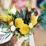 Golden Yellow Dahlia Centerpiece | Jeff Brummett Visuals | Bold Fall Colors and a Floral Wedding Dress