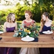 Farm Table Picnic | Jeff Brummett Visuals | Bold Fall Colors and a Floral Wedding Dress