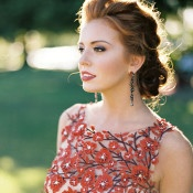 Gorgeous Crimson Flower Gown | Jeff Brummett Visuals | Bold Fall Colors and a Floral Wedding Dress