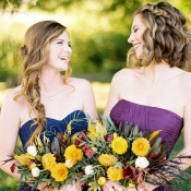 Bridesmaids in Blue and Purple | Jeff Brummett Visuals | Bold Fall Colors and a Floral Wedding Dress