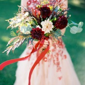 Burgundy and Blush Bouquet | Jeff Brummett Visuals | Bold Fall Colors and a Floral Wedding Dress