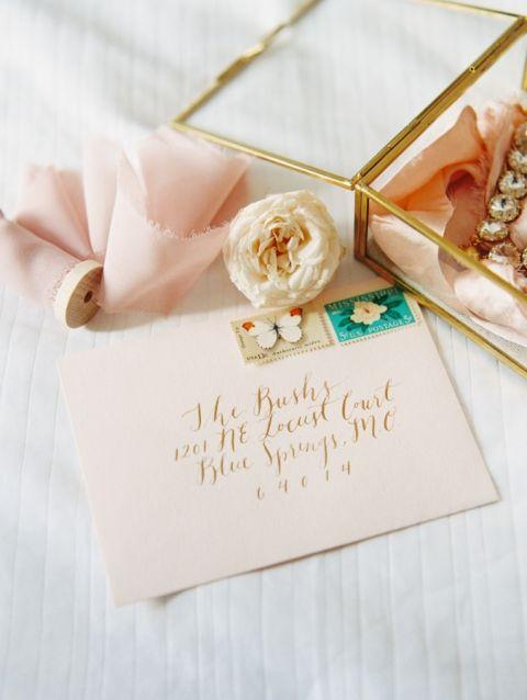 Peach and Gold Calligraphy Invitation | Carmen Santorelli Photography | A Modern Pastel Wedding Palette