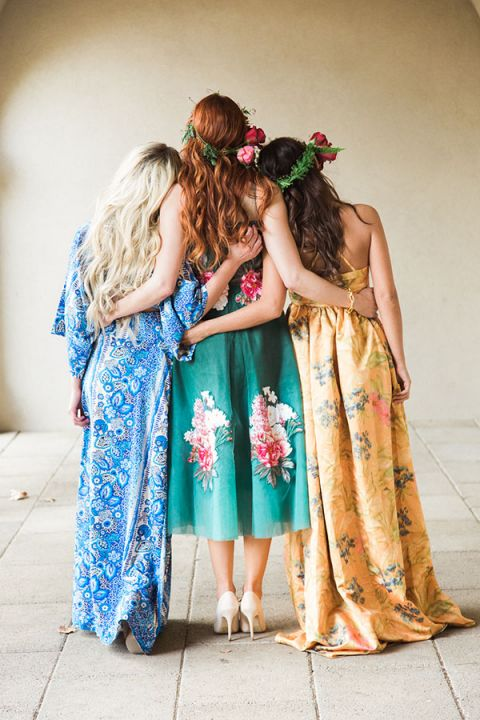 Chic and Colorful Floral Prints   Claire Marika and Alyssa Vincent   A High Fashion Bohemian Bridal Shower