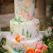 Pastel Watercolor Wedding Cake | Claire Marika and Alyssa Vincent | A High Fashion Bohemian Bridal Shower