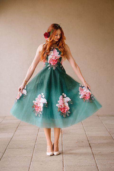 Emerald and Peony Floral Dress   Claire Marika and Alyssa Vincent   A High Fashion Bohemian Bridal Shower