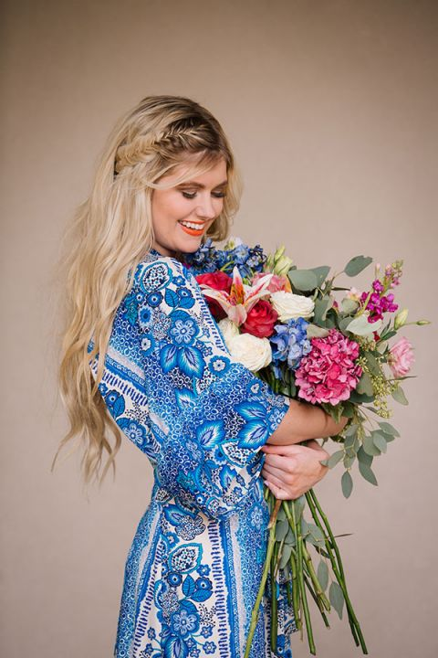 Blue Floral Print Dress with a Fishtail Braid   Claire Marika and Alyssa Vincent   A High Fashion Bohemian Bridal Shower