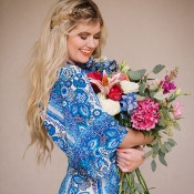 Blue Floral Print Dress with a Fishtail Braid | Claire Marika and Alyssa Vincent | A High Fashion Bohemian Bridal Shower