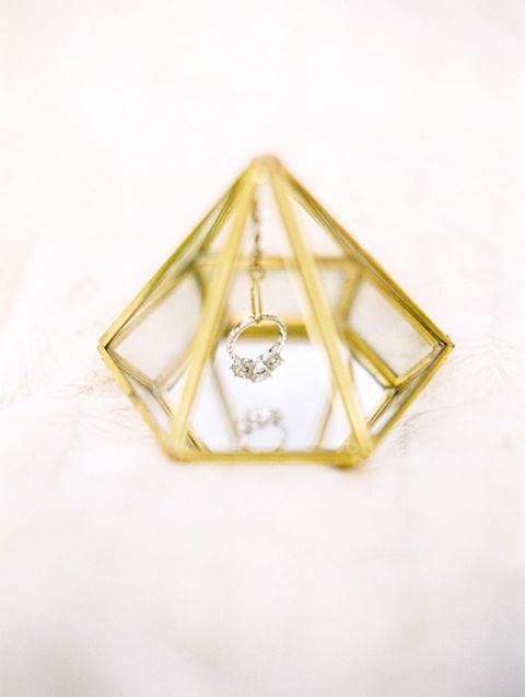 Gold Diamond Shaped Ring Holder | Dana Fernandez Photography | Modern Gemstone Wedding Ideas