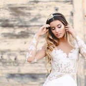Sheer Lace Mona Wedding Dress | K. Holly Photography | Modern Bridal Glam from Hayley Paige and Haute Bride!