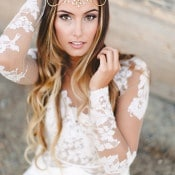 Long Sleeve Lace Wedding Dress with a Gold Bohemian Headpiece | K. Holly Photography | Modern Bridal Glam from Hayley Paige and Haute Bride!