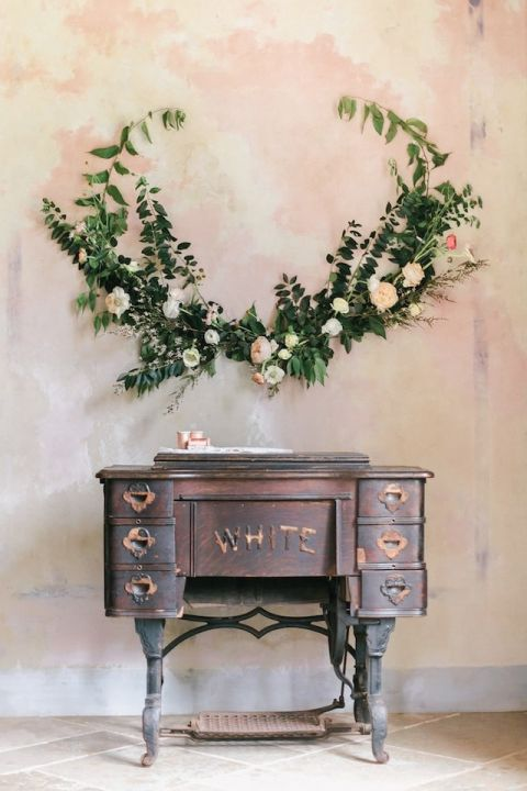 Watercolor Backdrop with a Floral Garland   Exquisitrie by Kelly Sauer   Delicate Opal Inspired Wedding Palette