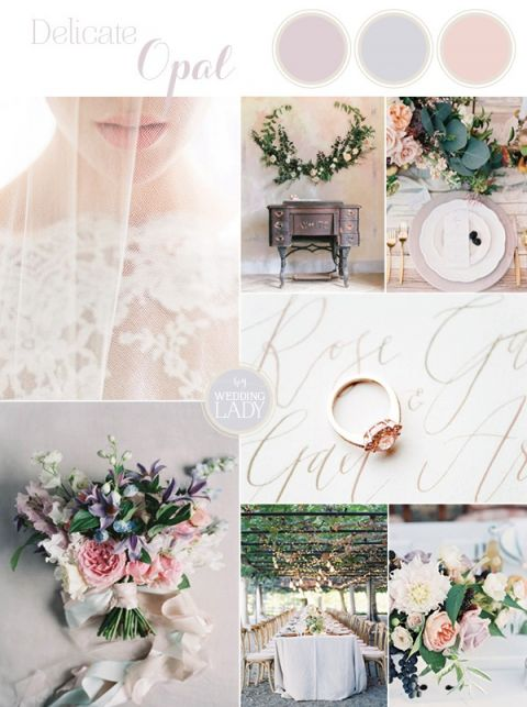 Delicate Opal Inspired Wedding Palette in Pastel Shades of Blush, Lavender, and Blue