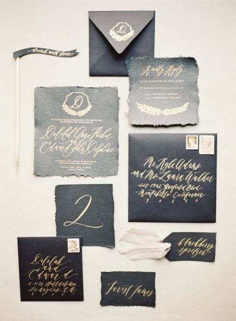 Black and Gold Calligraphy Invitation | Kurt Boomer Photography | Chic Halloween Wedding Palette