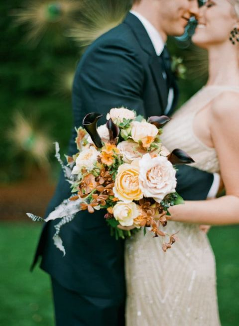 Gold Sequin Wedding Dress and an Orange Bouquet | Josh Gruetzmacher Photography | Chic Halloween Wedding Palette