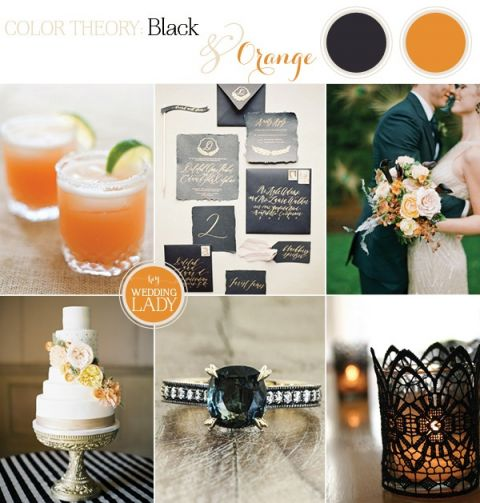 Black, Gold, and Orange Palette for a Chic Halloween Wedding