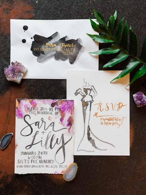 Modern Watercolor Invitation and Fashion Illustration