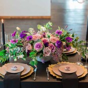 Gold and Purple Decor | Jeff Brummett Visuals | City Chic Wedding - https://heyweddinglady.com/city-chic-wedding-black-white-purple/
