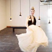 Dramatic Black and White Wedding Dress | Jeff Brummett Visuals | City Chic Wedding - http://heyweddinglady.com/city-chic-wedding-black-white-purple/