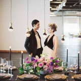 City Chic Wedding - http://heyweddinglady.com/city-chic-wedding-black-white-purple/