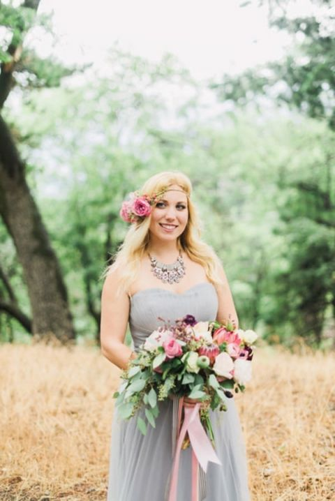 Sweetly Chic Bride in a Lilac Gray Wedding Dress with a Pink Floral Crown | Summer Shea Photography | https://heyweddinglady.com/romantic-mountain-wedding-shoot-lilac-gray-pink/