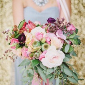Pink Bouquet and Gold Sequins | Summer Shea Photography | https://heyweddinglady.com/romantic-mountain-wedding-shoot-lilac-gray-pink/