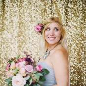 Glam Gold Sequin Backdrop and Pink Flowers | Summer Shea Photography | http://heyweddinglady.com/romantic-mountain-wedding-shoot-lilac-gray-pink/