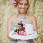 Petite White Wedding Cake with Cascading Flowers | Summer Shea Photography | https://heyweddinglady.com/romantic-mountain-wedding-shoot-lilac-gray-pink/