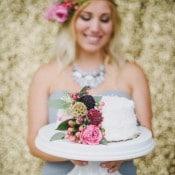 Petite White Wedding Cake with Cascading Flowers | Summer Shea Photography | https://heyweddinglady.com/romantic-mountain-wedding-shoot-lilac-gray-pink/