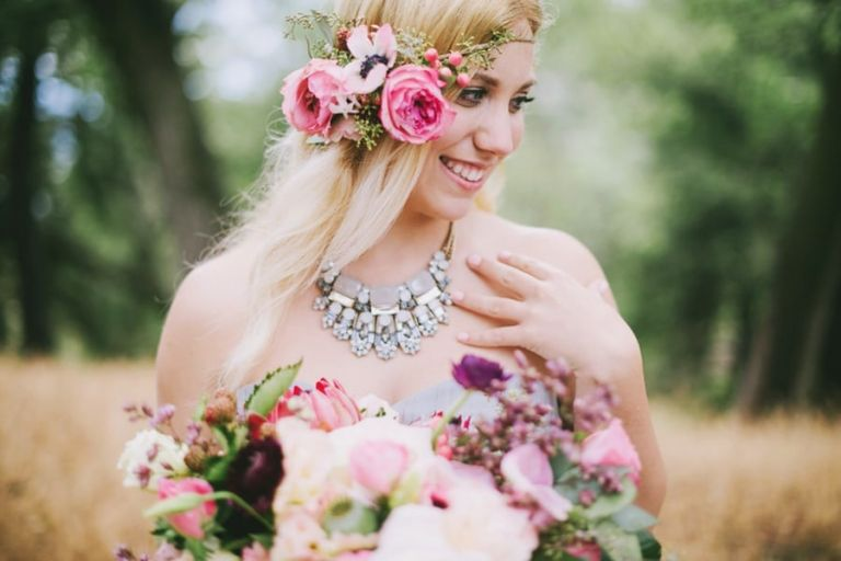 Sparkling Statement Necklace and a Flower Crown | Summer Shea Photography | https://heyweddinglady.com/romantic-mountain-wedding-shoot-lilac-gray-pink/