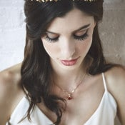 Gold Leaf Bridal Headpiece | Bri Johnson Photography | https://heyweddinglady.com/urban-bridal-styled-shoot-where-vintage-meets-modern/