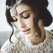 Jeweled Bridal Headpiece and Natural Makeup | Bri Johnson Photography | https://heyweddinglady.com/urban-bridal-styled-shoot-where-vintage-meets-modern/