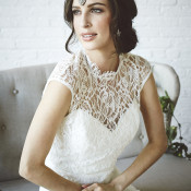 Floral Lace Wedding Dress | Bri Johnson Photography | http://heyweddinglady.com/urban-bridal-styled-shoot-where-vintage-meets-modern/