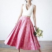 Chic Two Piece Wedding Dress with a Pink Floral Skirt | Bri Johnson Photography | http://heyweddinglady.com/urban-bridal-styled-shoot-where-vintage-meets-modern/