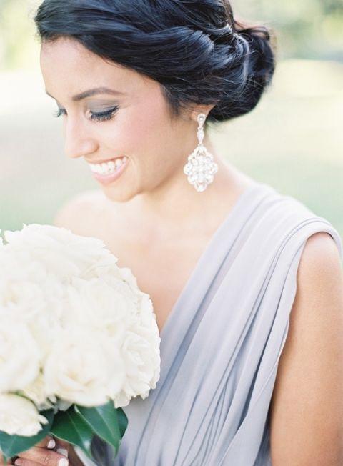 Grecian Gray Bridesmaids Dress | Marissa Lambert Photography | https://heyweddinglady.com/ethereal-gray-winter-wedding-ideas/