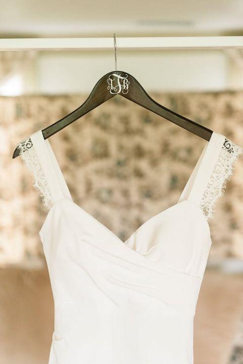 Romantic Lace Strap Wedding Dress | Audrey Rose Photography | https://heyweddinglady.com/playful-elegant-southern-blush-wedding-floral-print/