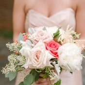 Blush and Bright Pink Rose Bouquet | Audrey Rose Photography | https://heyweddinglady.com/playful-elegant-southern-blush-wedding-floral-print/
