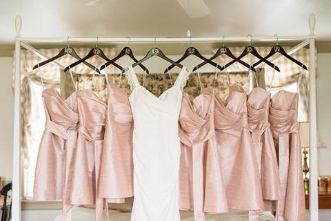 Blush Silk Bridesmaids Dresses | Audrey Rose Photography | https://heyweddinglady.com/playful-elegant-southern-blush-wedding-floral-print/