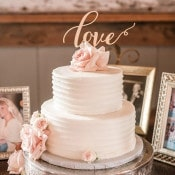 Delicate Wedding Cake with a Gold Laser Cut Topper | Audrey Rose Photography | https://heyweddinglady.com/playful-elegant-southern-blush-wedding-floral-print/