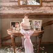 Sweet Shabby Chic Wedding Cake Table | Audrey Rose Photography | https://heyweddinglady.com/playful-elegant-southern-blush-wedding-floral-print/