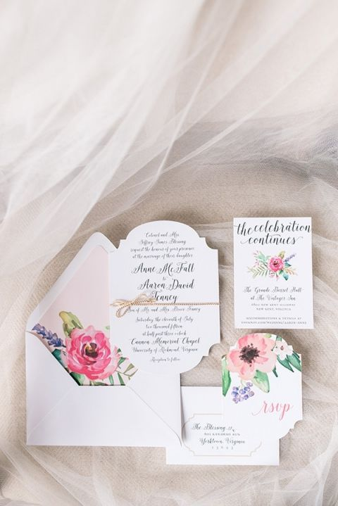 Watercolor Floral Print Wedding Invitations | Audrey Rose Photography | http://heyweddinglady.com/playful-elegant-southern-blush-wedding-floral-print/