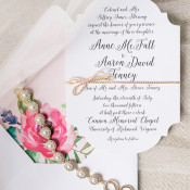 Delicate Jewelry and Floral Print Invitations | Audrey Rose Photography | https://heyweddinglady.com/playful-elegant-southern-blush-wedding-floral-print/