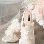 Ruffled Wedding Shoes | Audrey Rose Photography | https://heyweddinglady.com/playful-elegant-southern-blush-wedding-floral-print/