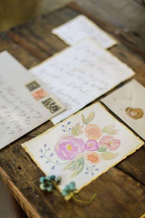 Watercolor Floral Wedding Invitation | Jennifer Munoz Photography | https://heyweddinglady.com/garden-romance-rose-quartz-serenity/