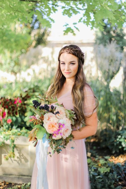 Ethereal Blush Wedding Dress with a Colorful Spring Bouquet | Jennifer Munoz Photography | http://heyweddinglady.com/garden-romance-rose-quartz-serenity/