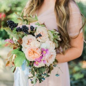 Berry and Garden Rose Bouquet | Jennifer Munoz Photography | https://heyweddinglady.com/garden-romance-rose-quartz-serenity/