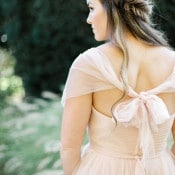 Blush Wedding Dress with a Bridal Braid | Jennifer Munoz Photography | http://heyweddinglady.com/garden-romance-rose-quartz-serenity/