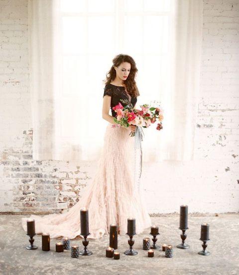 Dramatic Black Lace and Blush Wedding Dress | Charla Storey Photography | http://heyweddinglady.com/moody-glam-winter-wedding-burgundy-blush-black/