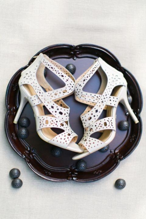 Chic White Lasercut Bridal Shoes | Elisabeth Carol Photography | http://heyweddinglady.com/moody-glam-winter-wedding-burgundy-blush-black/