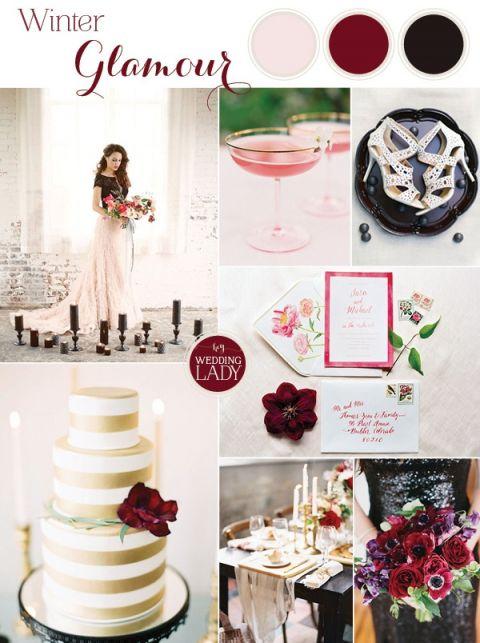 Moody Glam Winter Wedding in Burgundy, Blush, and Black | http://heyweddinglady.com/moody-glam-winter-wedding-burgundy-blush-black/